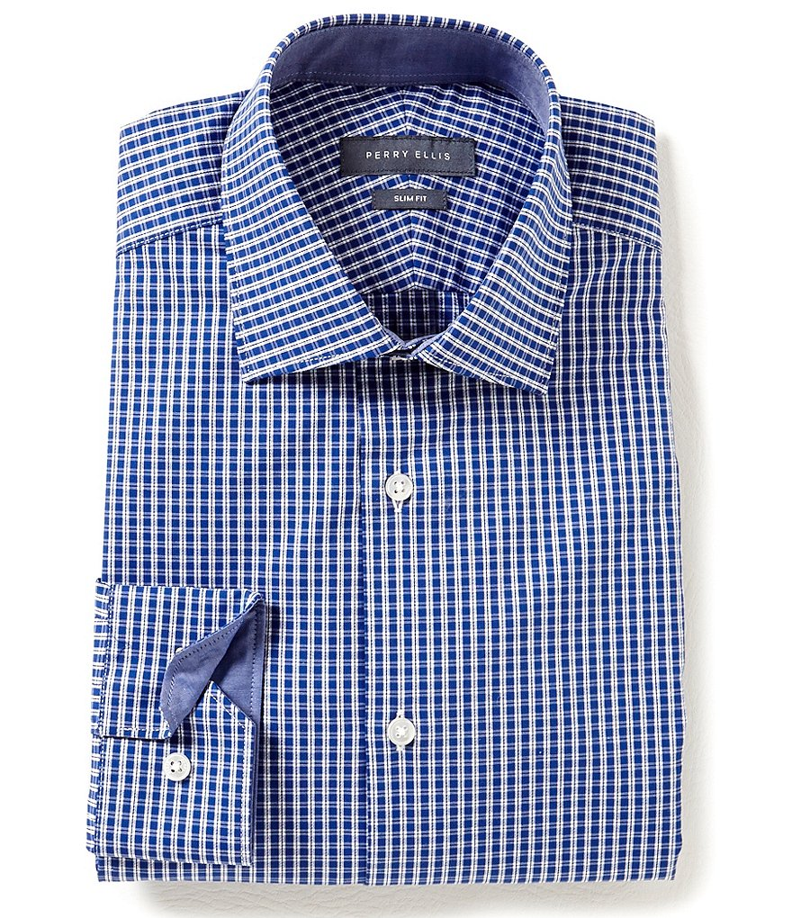 Perry Ellis Non-Iron Slim-Fit Comfort Spread Collar Checked Dress Shirt