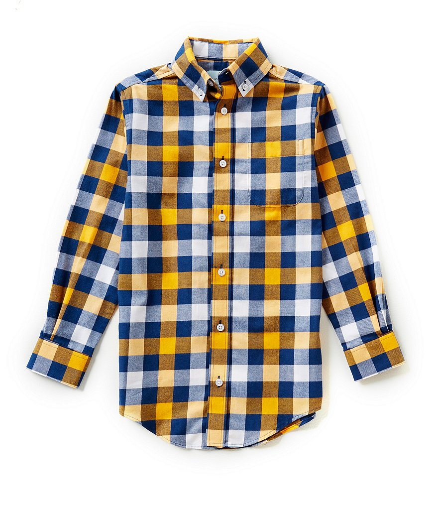 Class Club Big Boys 8-20 Checked Button-Front Long-Sleeve Shirt
