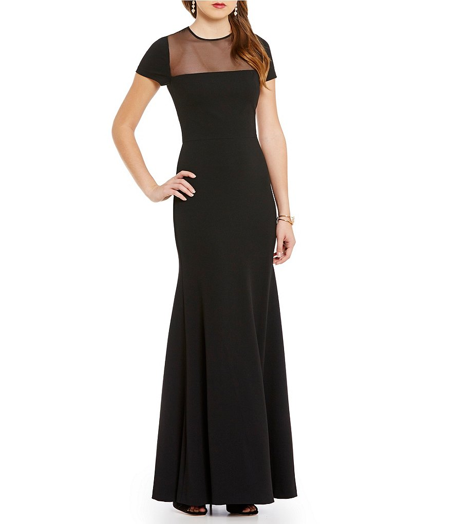 Vera Wang Illusion Neck Scuba Crepe Gown