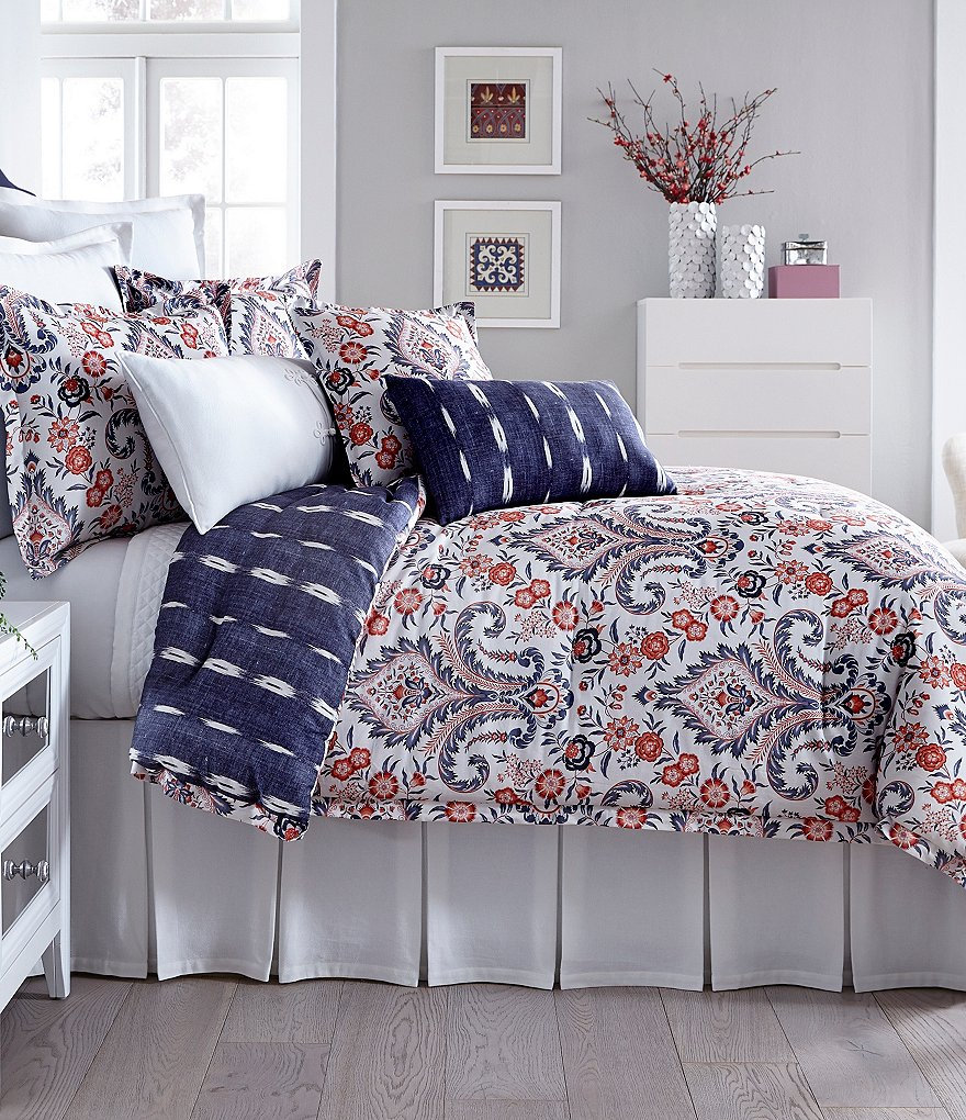 Southern Living Calisto Floral Damask & Striped Denim Cotton Comforter Mini Set