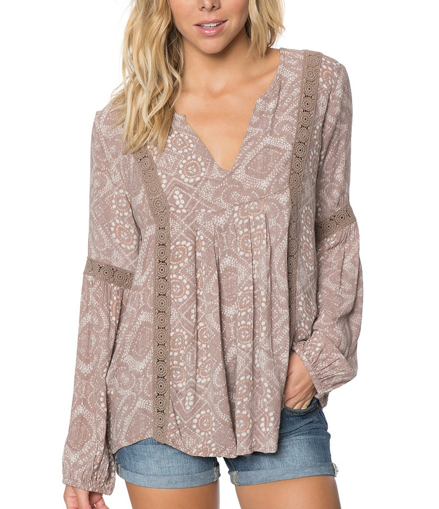 O´Neill Slater Crochet-Trim Printed Peasant Top