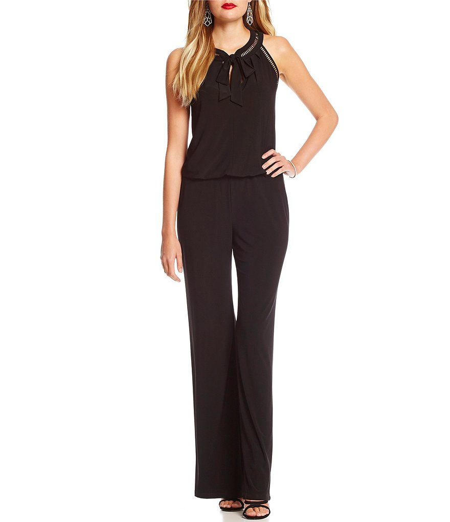 Laundry By Shelli Segal Sleeveless Trim Detail Front Bow Jumpsuit