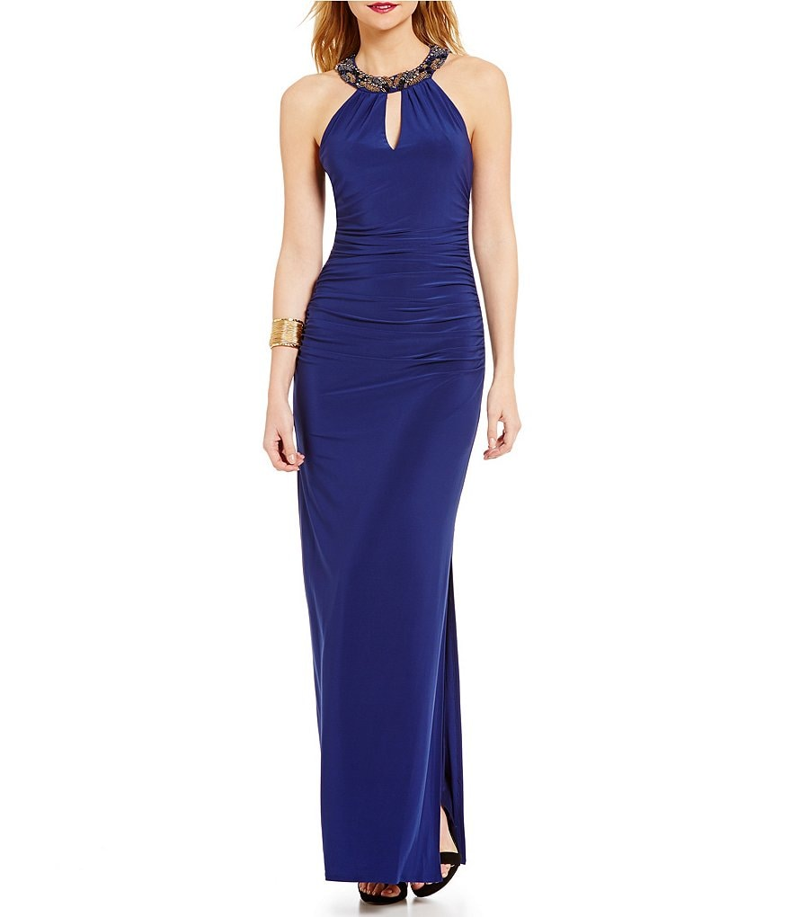Laundry By Shelli Segal Beaded Halter Neck Sleeveless Gown