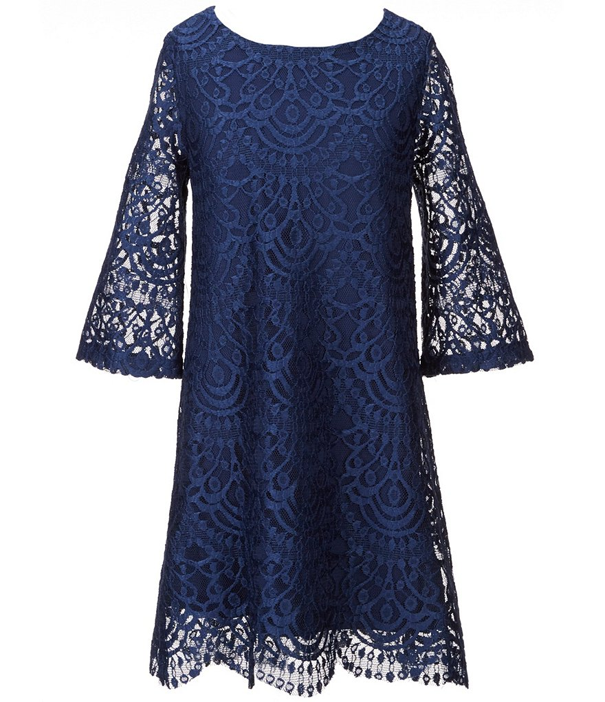 My Michelle Big Girls 7-16 Lace Shift Bell-Sleeve Dress