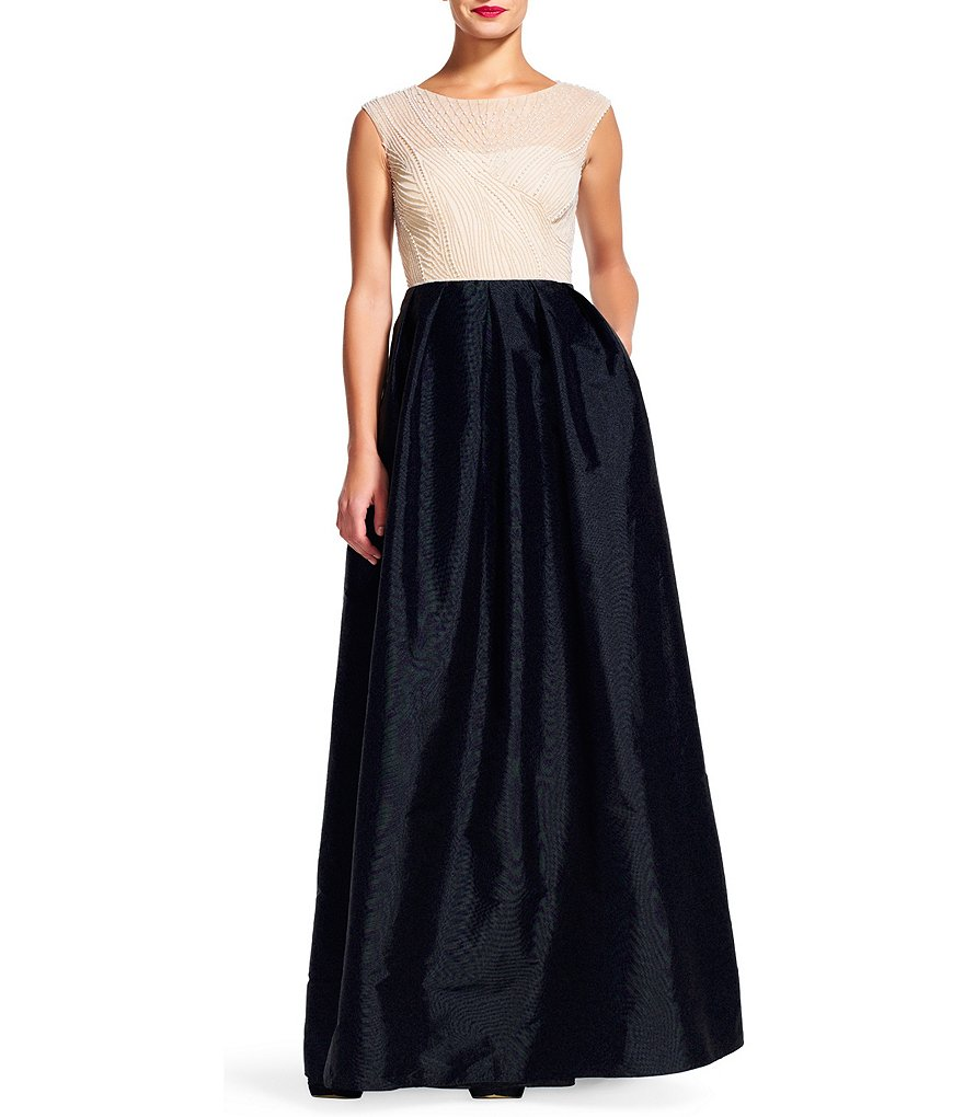 Adrianna Papell Boat Neck Beaded Cap Sleeve Gown