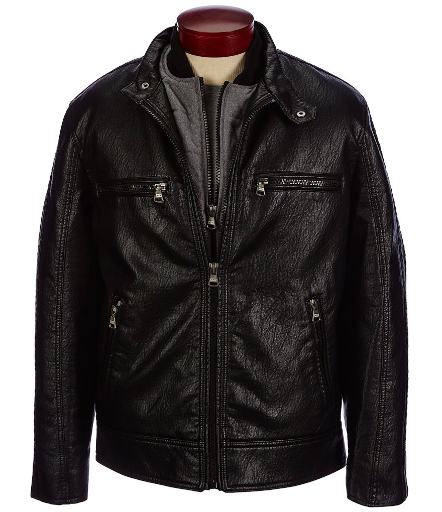 Marc New York Andrew Marc Anson Faux-Leather Three-In-One Motorcycle Hipster Jacket
