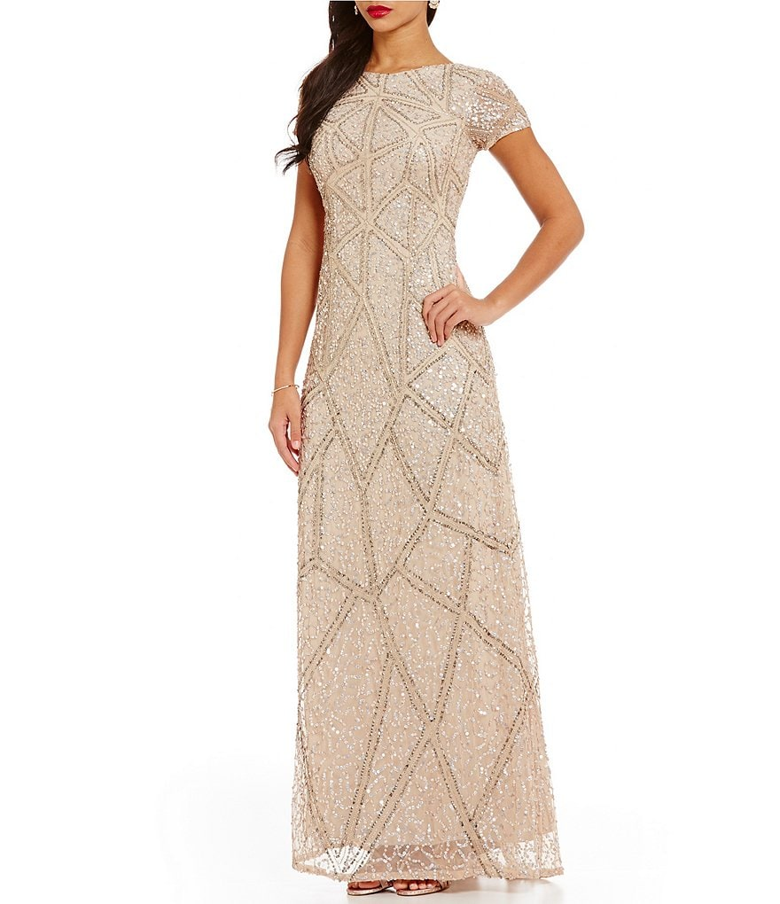 Adrianna Papell Geo-Pattern Beaded Short Sleeve Gown