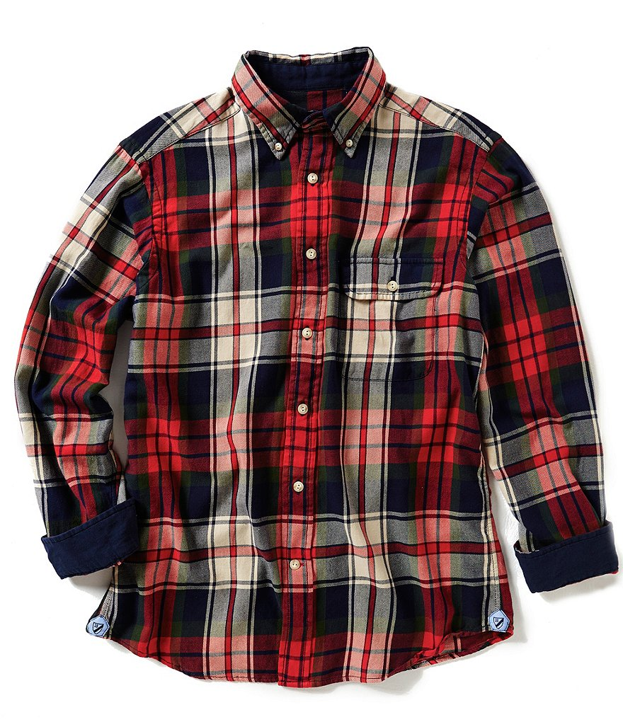 Cremieux Long-Sleeve Elbow Patch Plaid Twill Woven Shirt