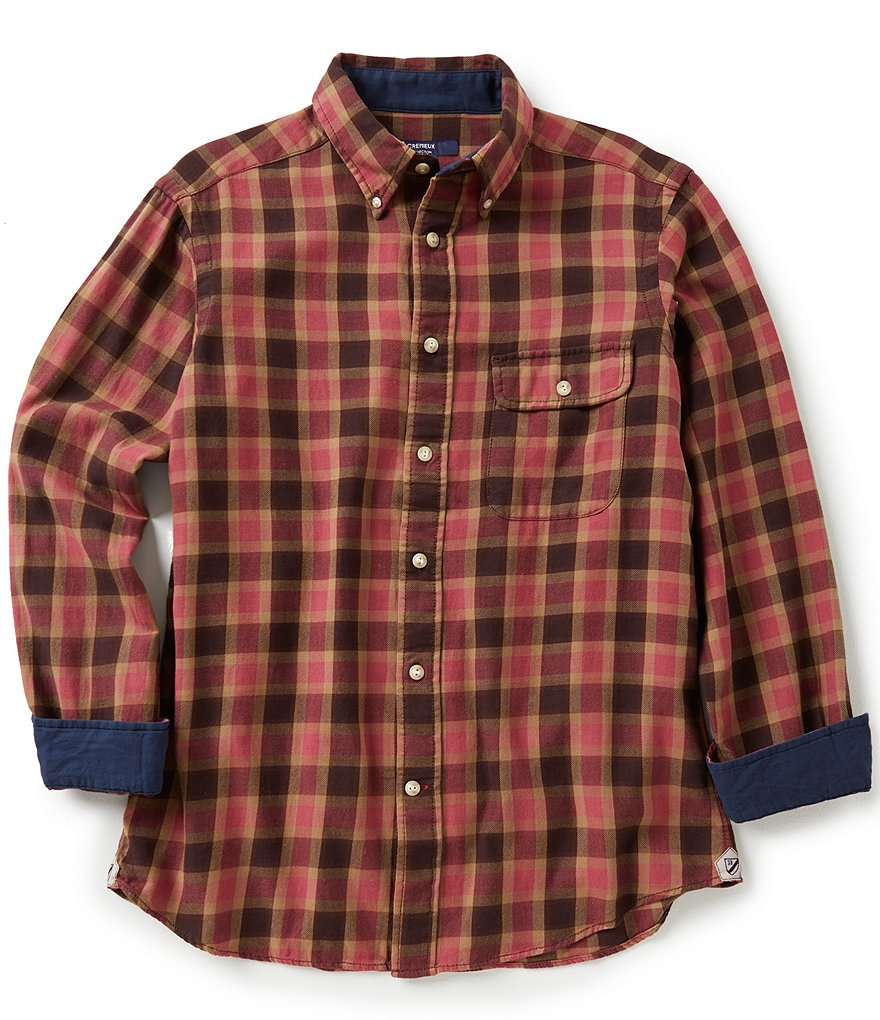 Cremieux Long-Sleeve Elbow-Patch Plaid Twill Woven Shirt