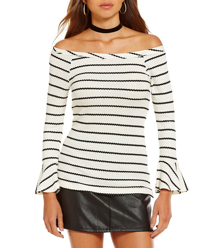 Wyldehart Off-The-Shoulder Striped Bell Sleeve Top