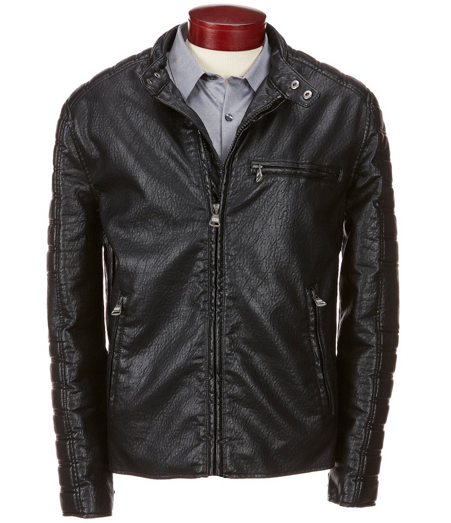Marc New York Andrew Marc Watkins Faux-Leather Motorcycle Hipster Jacket