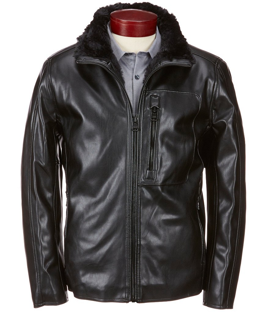 Marc New York Andrew Marc Gilead Faux-Leather Faux-Fur Hipster Jacket