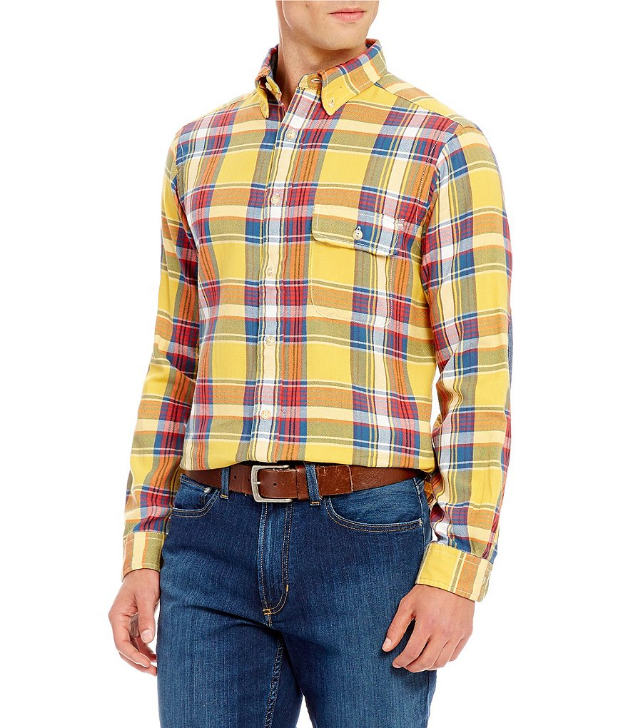 Cremieux Long-Sleeve Elbow-Patch Plaid Woven Shirt