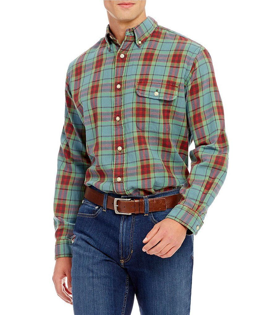 Cremieux Long-Sleeve Plaid Flannel Elbow-Patch Woven Shirt