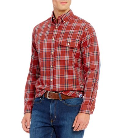 Cremieux long sleeve elbow patch plaid flannel woven shirt for Mens flannel shirt with elbow patches