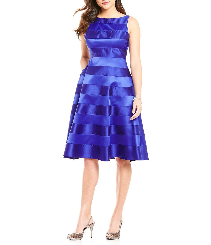 Adrinna Papell Stripe Tea Length Fit-and-Flare Dress