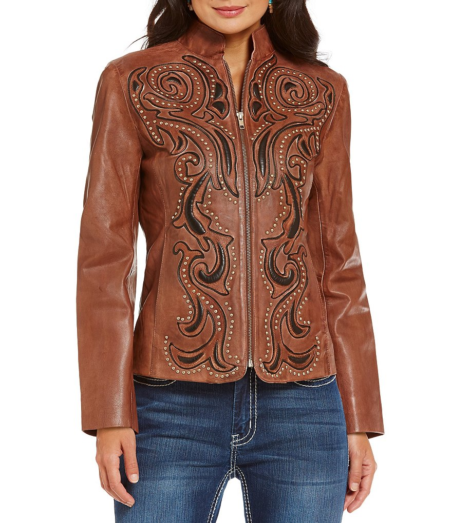 Reba Sierra Sunrise Embellished Leather Jacket