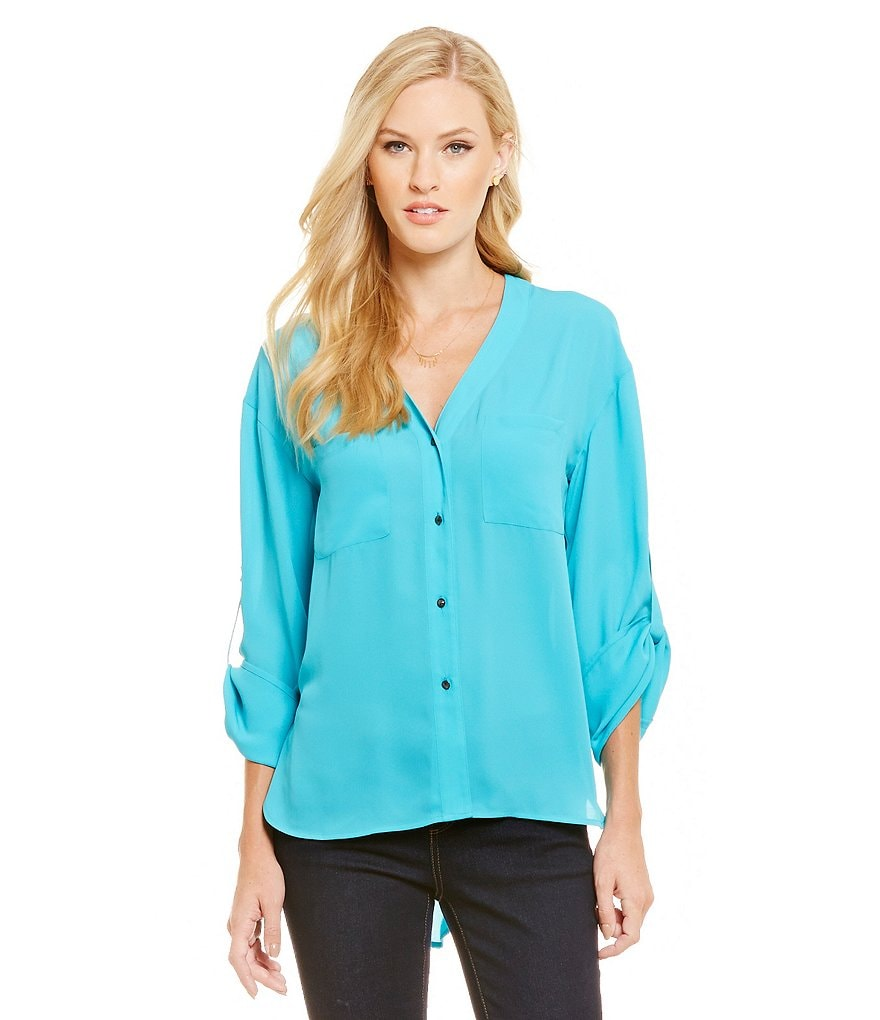 Cremieux Eden Roll-Tab Button Front Georgette Blouse