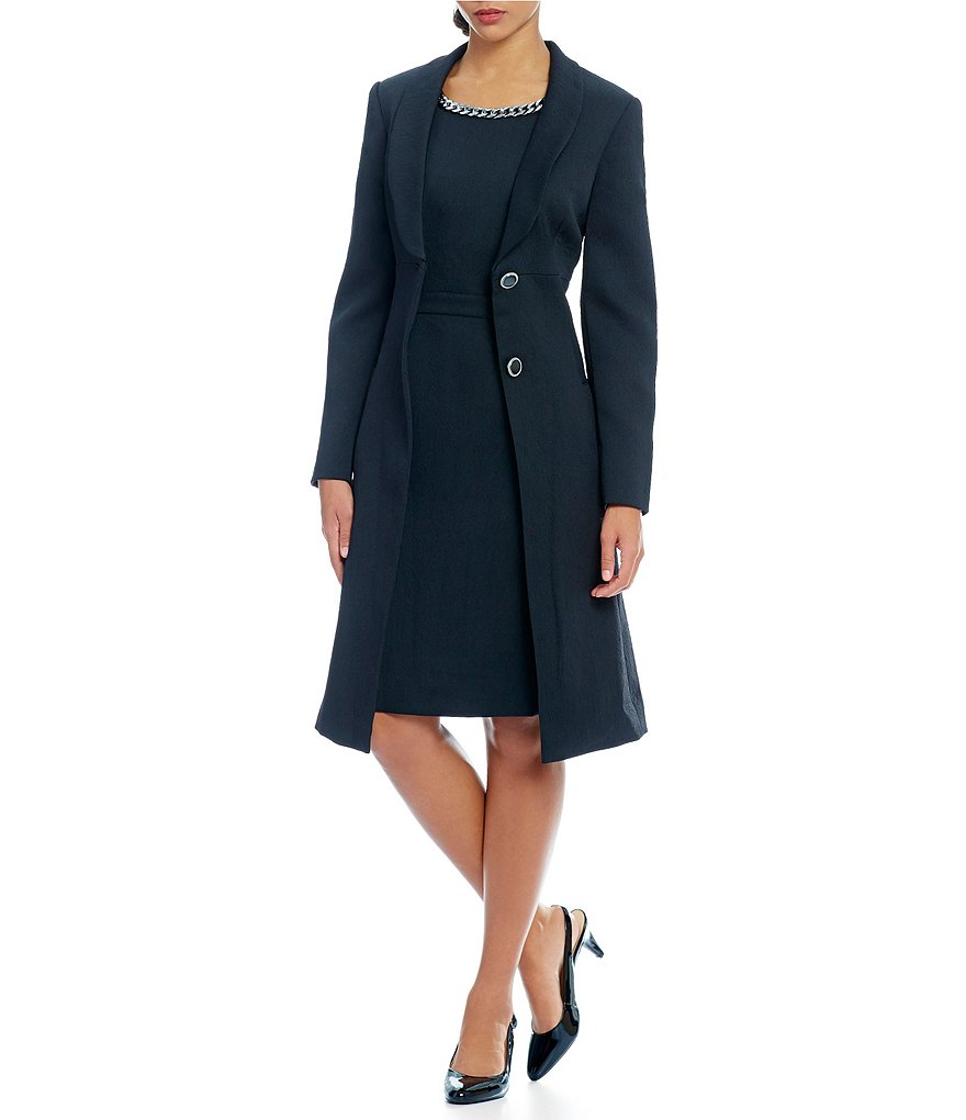 John Meyer Black Jacquard 2 Piece Coat Dress