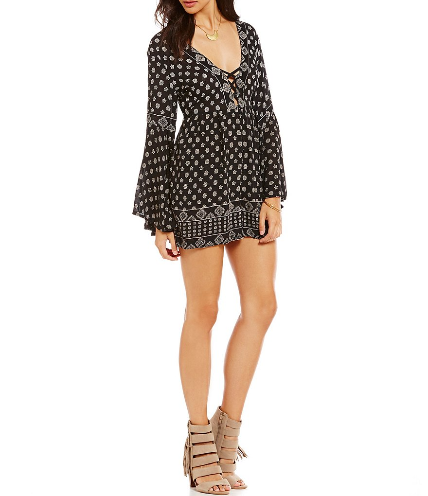 Angie Border Print Lattice Romper