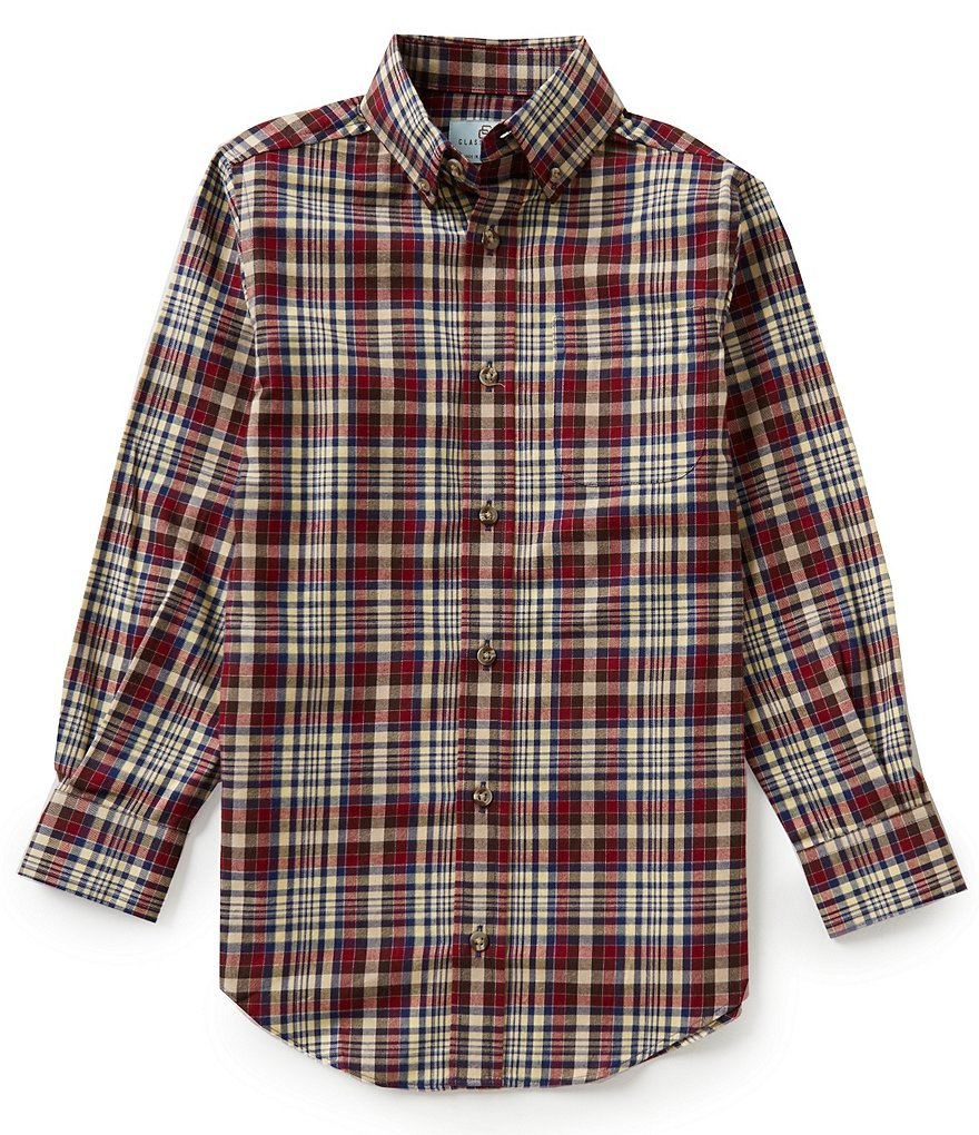 Class Club Big Boys 8-20 Button-Front Plaid Shirt