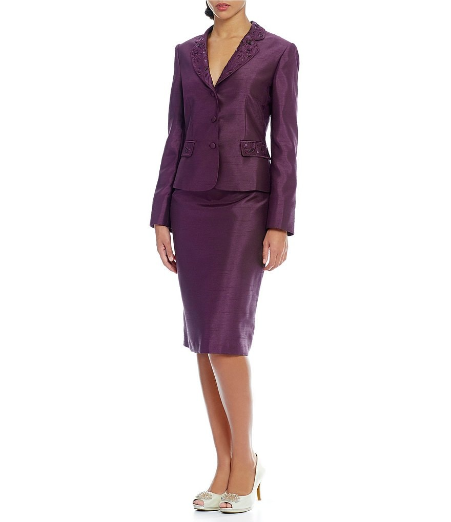 John Meyer 2-Piece Solid Shantung Skirt Suit