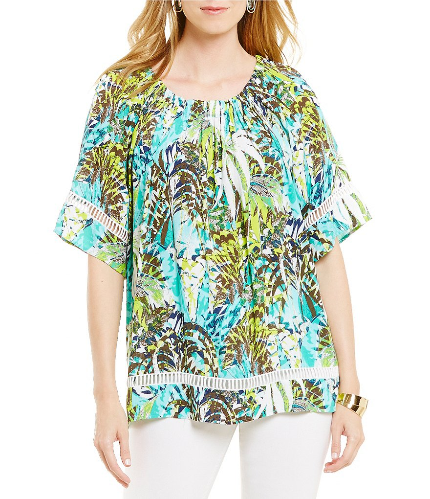 Westbound Petite Short Sleeve Printed Peasant Top