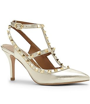 Arturo Chiang Gracen Metallic Leather Studded Pumps
