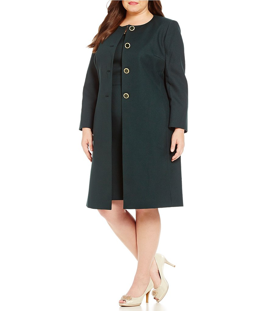 John Meyer Plus Solid 2-Piece Jacket Dress