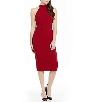 Jessica Simpson Mock Neck Sleeveless Midi Sheath Dress