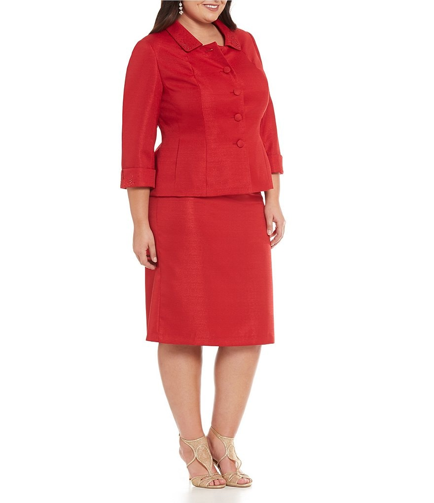 John Meyer Plus Bead-Trim 2-Piece Skirt Suit