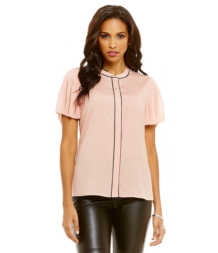 KARL LAGERFELD PARIS Pleated Sleeve Blouse