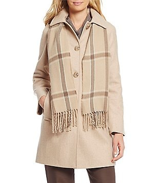 London Fog Wool Single Breasted With Scarf Coat