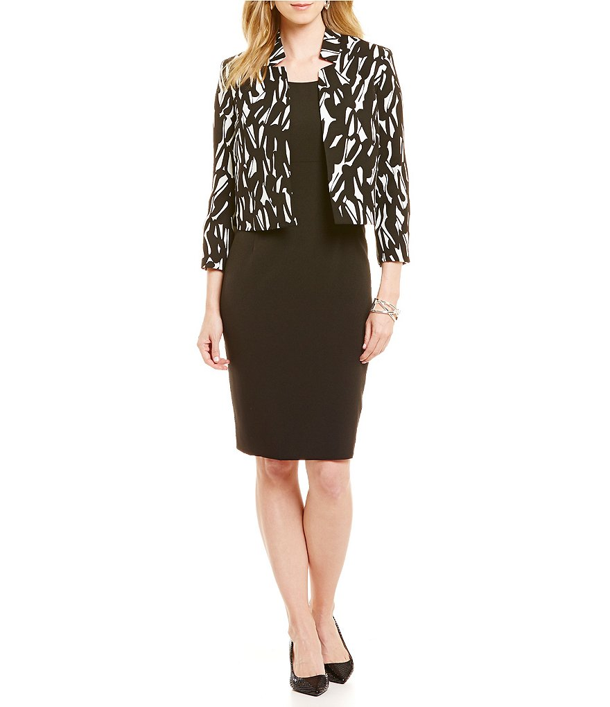 Kasper Crepe Empire Sheath Dress & Printed Long Sleeve Flyaway Jacket