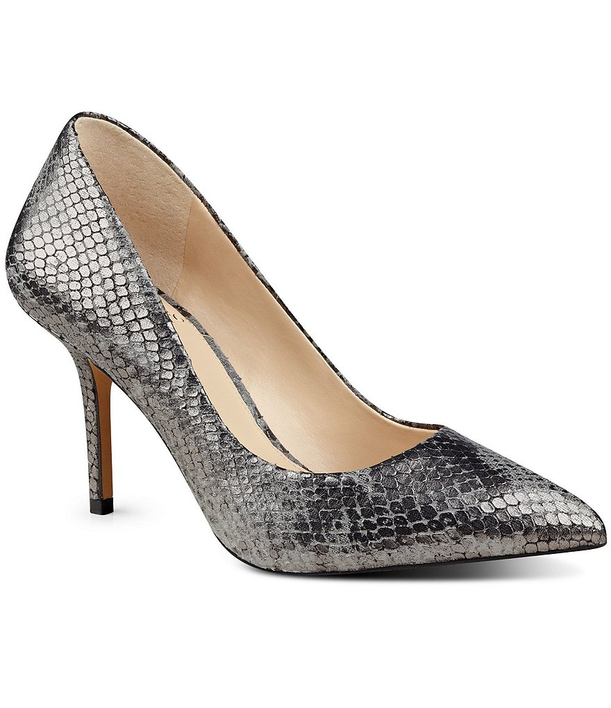 Vince Camuto Salest Metallic Snake-Print Leather Pumps