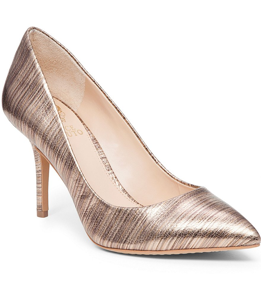 Vince Camuto Salest Metallic Pritn Leather Pointed Toe Pumps