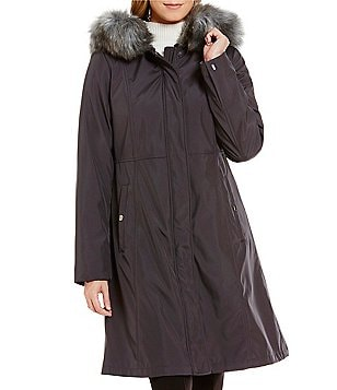 Gallery Stand Collar Welt Pocket Hooded Storm Coat With Faux Fur Trim