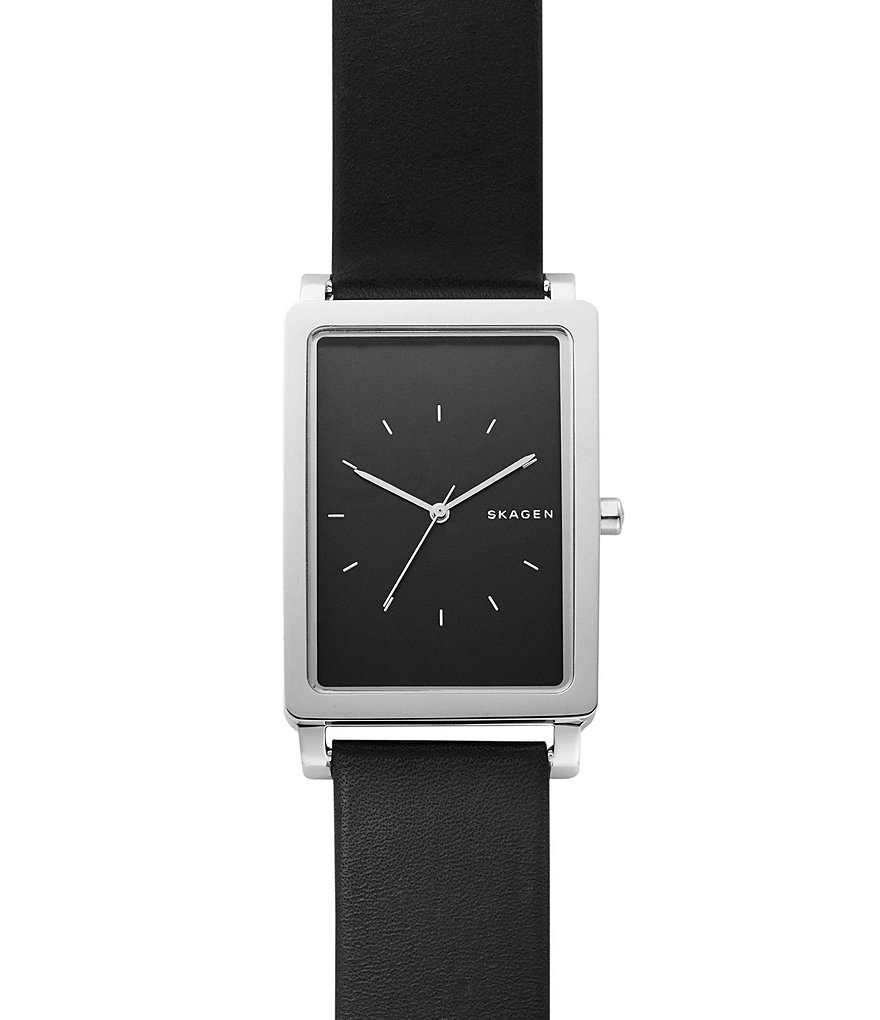 Skagen Hagen Rectangular Leather-Strap Analog Watch