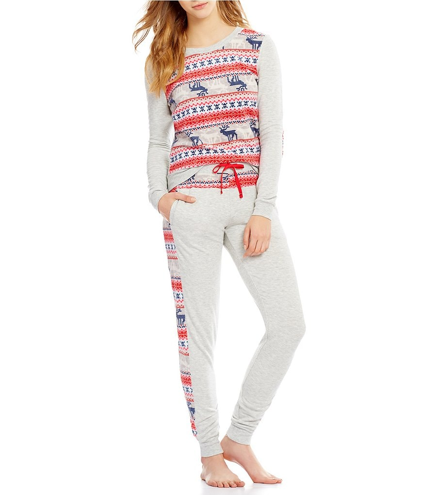 Jane & Bleecker Holiday-Print Fleece Lounge Set