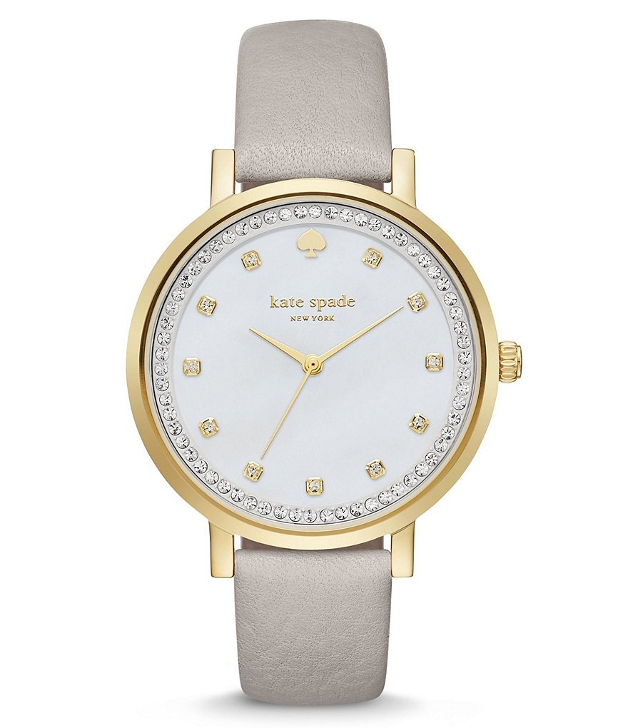 kate spade new york Monterey Leather Strap 3 Hand Crystal Analog Watch