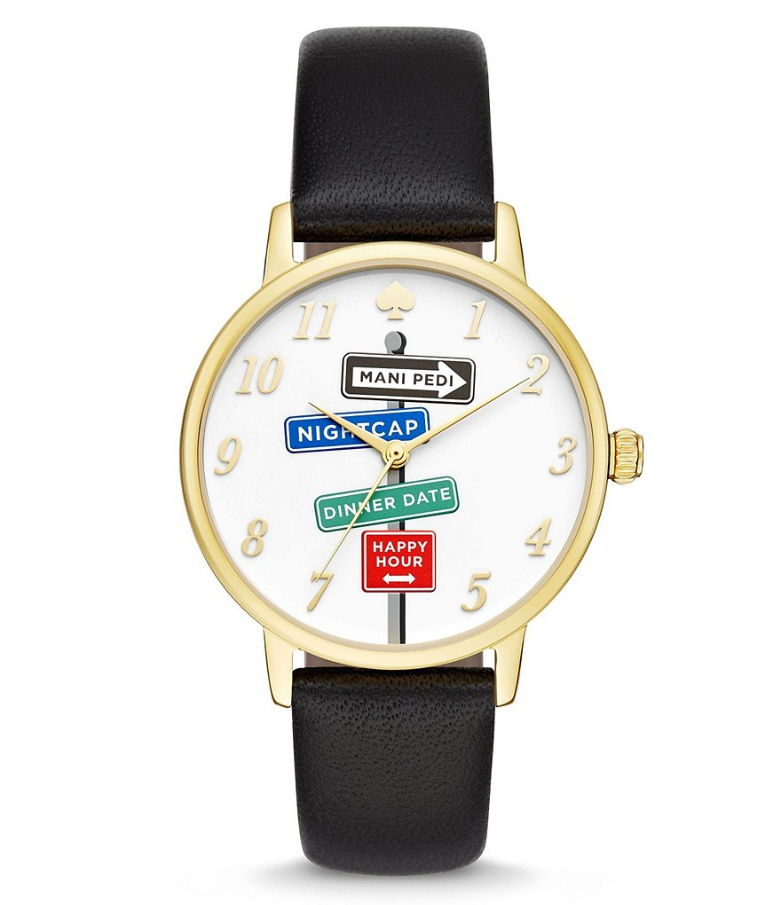 kate spade new york Metro Signs Leather-Strap Analog Watch