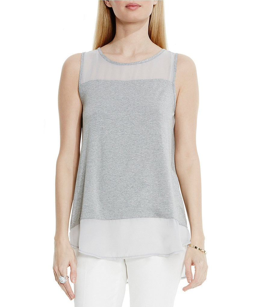 Vince Camuto Solid Chiffon Top