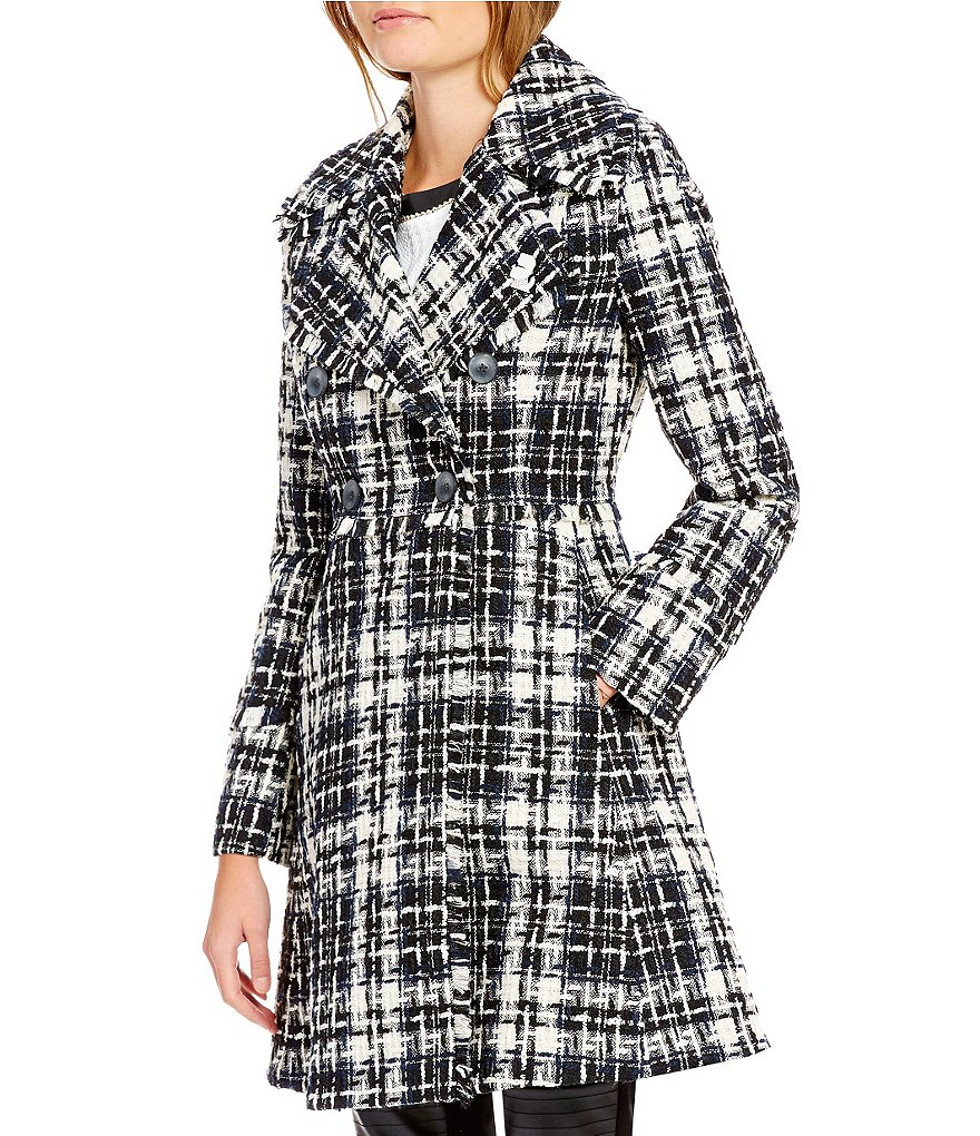 KARL LAGERFELD PARIS Double Breasted Wool Fringe Tweed Coat