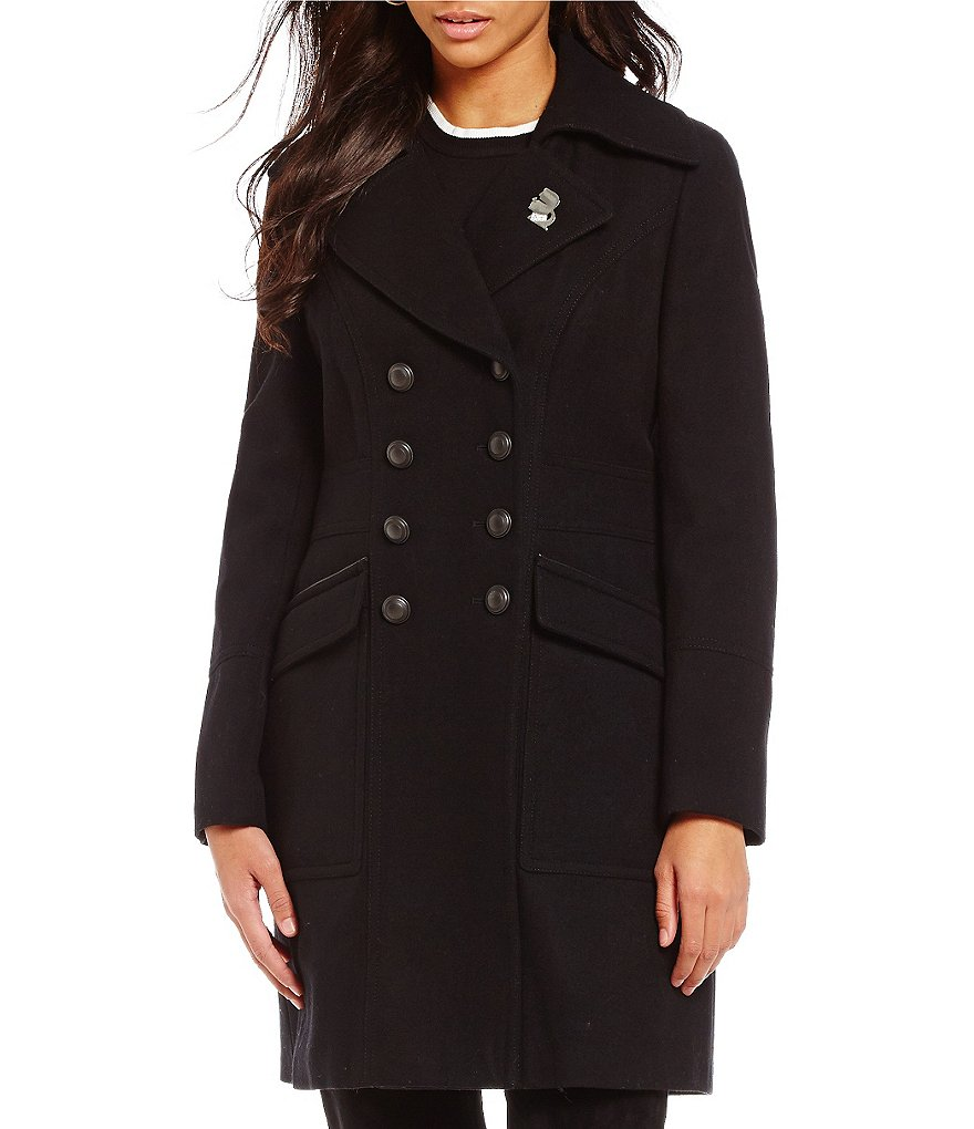 Karl Lagerfeld Paris Double Breasted Button Front Military Wool Peacoat