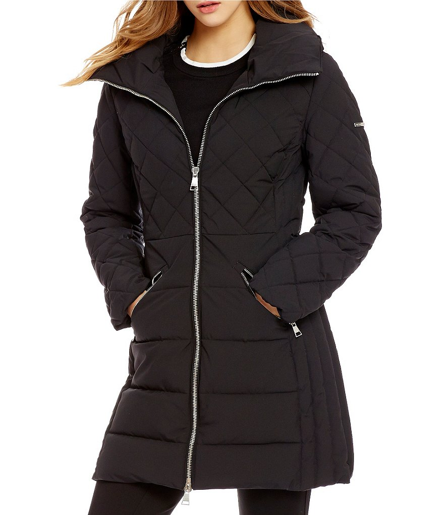 Karl Lagerfeld Paris Matte Stretch Down Zip Front Quilted Coat