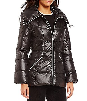 Karl Lagerfeld Paris Spread Collar Hooded Light Weight Down Puffer