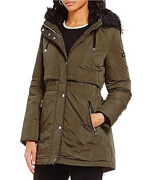 Karl Lagerfeld Paris Faux-Fur Hooded Trim Soft Shell Down Storm Puffer Coat