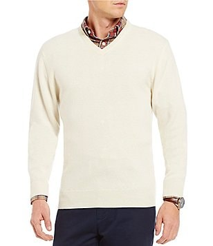 Cremieux Cashmere V-Neck Long-Sleeve Sweater