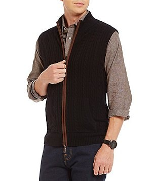 Cremieux Full-Zip Mockneck Cashmere Cable Sweater Vest