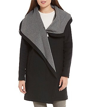 Vince Camuto Double Face Wool Blend Funnel-Collar Wrap Coat